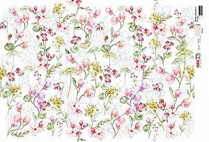Papel Decoupage 30x45 cm OPAPEL 2819 - Estampa Flores Micro IV