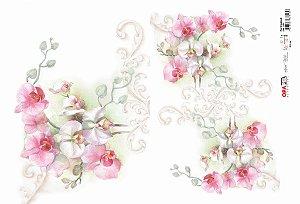 Papel Decoupage 30x45 cm OPAPEL 2404 - Flor Orquídea II