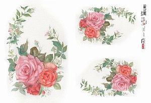 Papel Decoupage 30x45 cm OPAPEL 2315 - Flor Rosa I