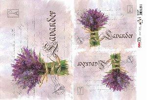 Papel Decoupage 30x45 cm OPAPEL 2378 - Flor Lavanda
