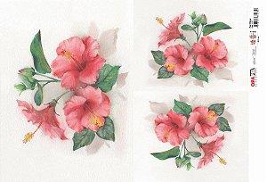 Papel Decoupage 30x45 cm OPAPEL 2377 - Flor Hibisco