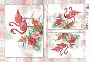 Papel Decoupage 30x45 cm OPAPEL 2376 - Flamingos