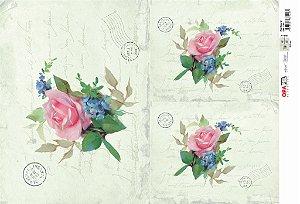 Papel Decoupage 30x45 cm OPAPEL 2380 - Flor Rosa IV