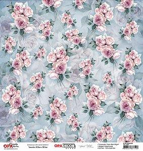 Papel Para Scrapbook Opadecor 30,5x30,5 - Flor Rosas 2801