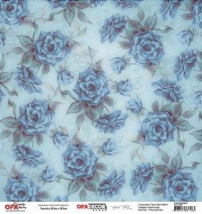 Papel Para Scrapbook Opadecor 30,5x30,5 - Flor Rosas 2800