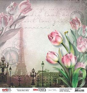 Papel Para Scrapbook Opadecor 30,5x30,5 - Flor Tulipas 2 2656