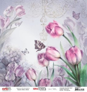 Papel Para Scrapbook Opadecor 30,5x30,5 - Flor Tulipas 1 2655