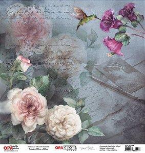 Papel Para Scrapbook Opadecor 30,5x30,5 - Flor Rosas 4 2652