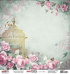 Papel Para Scrapbook Opadecor 30,5x30,5 - Flor Rosas 3 2651