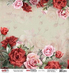 Papel Para Scrapbook Opadecor 30,5x30,5 - Flor Rosas 1 2649