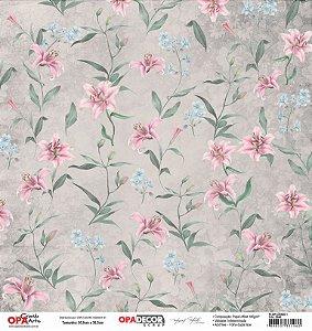 Papel Para Scrapbook Opadecor 30,5x30,5 - Flor Lírios 1 2648