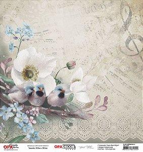 Papel Para Scrapbook Opadecor 30,5x30,5 - Flor Anêmonas 3 2641