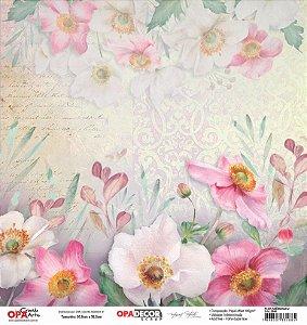 Papel Para Scrapbook Opadecor 30,5x30,5 - Flor Anêmonas 2 2640