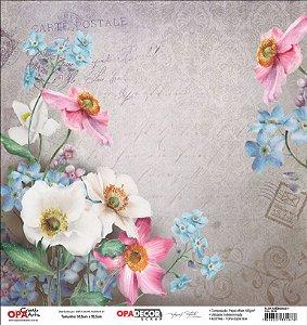 Papel Para Scrapbook Opadecor 30,5x30,5 - Flor Anêmonas 1 2639