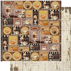 Papel Para Scrapbook 30,5 Cm X 30,5 Cm - TAGS, CAFÉ, COPO, CHANTILLY, XÍCARA, TAÇA SD-1126