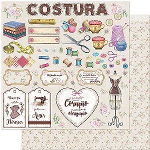 Papel Para Scrapbook 30,5 Cm X 30,5 Cm - COSTURA, MAQUINA, FLORES, ROSAS, RENDAS SD-1124