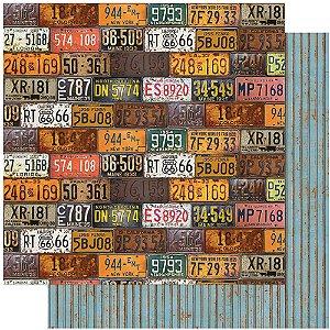 Papel Para Scrapbook 30,5 Cm X 30,5 Cm - RUSTICO, CARROS, PLACAS SD-1113