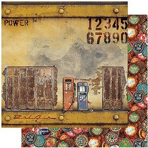 Papel Para Scrapbook 30,5 Cm X 30,5 Cm - RUSTICO, CARROS, BOMBA GASOLINA, NUMEROS SD-1110