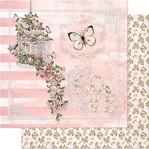 Papel Para Scrapbook 30,5 Cm X 30,5 Cm - GAIOLA E CASCATA DE ROSAS SD-376