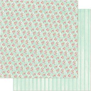Papel Para Scrapbook 30,5 Cm X 30,5 Cm - PADRÃO DE ROSAS FUNDO VERDE SD-695