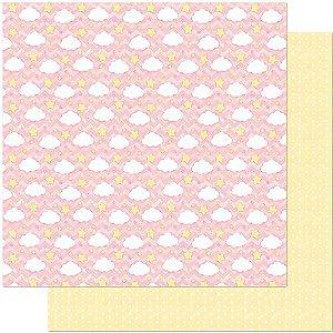 Papel Para Scrapbook 30,5 Cm X 30,5 Cm - PADRÃO DE NUVENS E ESTRELAS SD-811