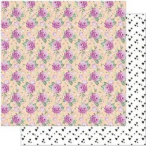 Papel Para Scrapbook 30,5 Cm X 30,5 Cm - ESTAMPA PLANNER ROSAS FLOR SD-907