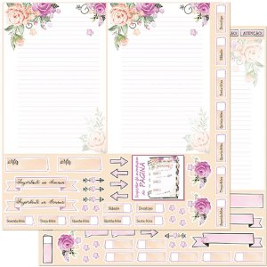 Papel Para Scrapbook 30,5 Cm X 30,5 Cm - PLANNER ROSAS PAGINA SD-906