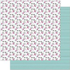 Papel Para Scrapbook 30,5 Cm X 30,5 Cm - ESTAMPA PLANNER CORAÇÃO SD-912