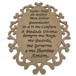 Placa Oração Santo Anjo Trabalhada - 26 cm