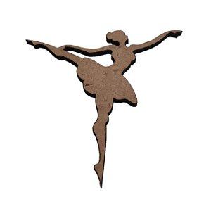 Aplique Laser MDF - Bailarina Perna Aberta - 8,5cm