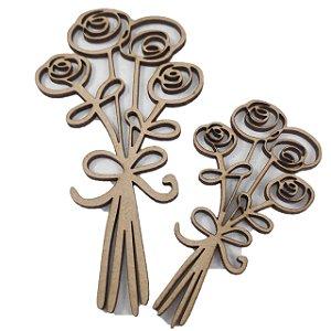 Aplique Laser MDF - Buque de Flores com 2 Unidades 10/15cm