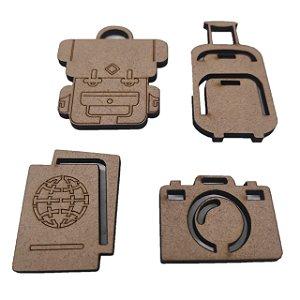 Aplique Laser MDF - Kit Viagem 4 Peças Modelo 2
