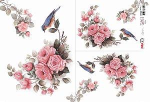 Papel Decoupage 30x45 cm OPAPEL 2484 - Flor Rosas e Pássaro