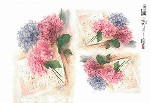 Papel Decoupage 30x45 cm OPAPEL 2395 - Flor Hortênsias