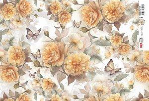 Papel Decoupage 30x45 cm OPAPEL 2392 - Estampa Flores Rosas