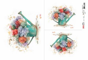 Papel Decoupage 30x45 cm OPAPEL 2486 - Regador e Flores