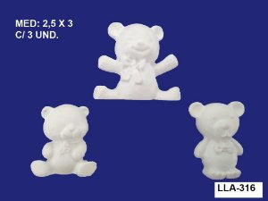 Aplique em Resina Ursos Mini 3 Peças 2,5x3 cm - LLA 316