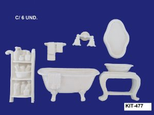 Aplique em Resina Kit Banheiro Clássico - 477