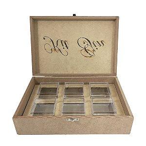 Caixa Kit Gin Laser Tam.P Com 6 Potes Acrílico 25x16x7 cm