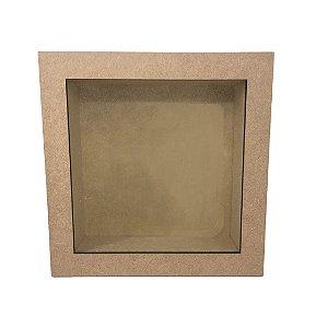 Quadro Liso Com Vidro MDF Fotos Cenário Quadrado 22x22x8