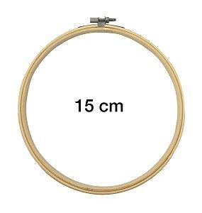Bastidor Madeira Bambu Ajustável Bordado - 15 Cm - kit c/5
