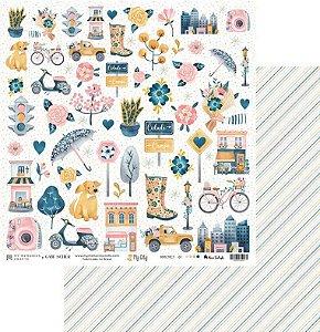 Papel My Memories Para Scrapbook - Coleção My City - MMCMCT-01