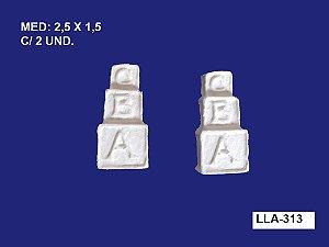 Aplique em Resina Dado ABC 2 Unidades 2,5x1,5cm - LLA 313