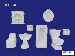 Aplique em Resina Kit De Banheiro P 8 Unidades - 284