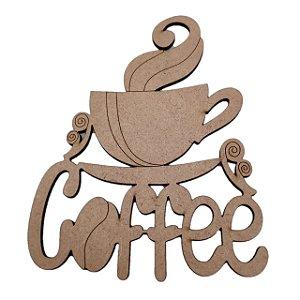 Aplique Laser MDF - Coffee E Xícara - 10 cm