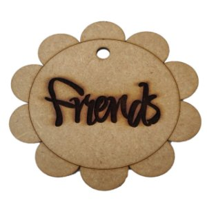 Aplique Laser MDF - Tag Friends 10 cm