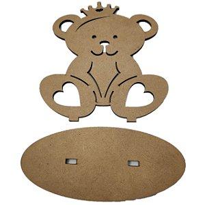 Aplique Laser MDF - Ursa Princesa Com Base 15 cm