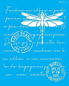 Stencil 20x25 Carta Antiga Libélula - OPA 3096