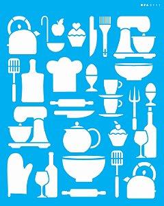 Stencil 20x25 Culinária Estamparia Utensílios - OPA 3111