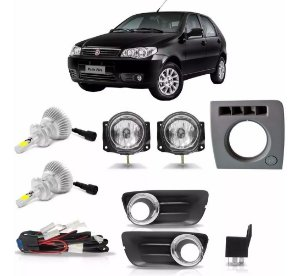Kit Farol Milha Palio Fire Way 2014 2015 2016 C/xenon De Led